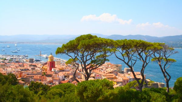 View of the village of Saint-Tropez with the Mediterranean Sea below